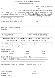 Consent Form To Treat Minor Children