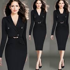 4XL Fashion Women Retro Vintage Working Dress Elegant Lady Black Long Sleeve Pencil Office Wear