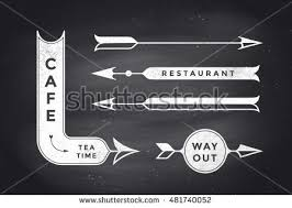 Set Of Vintage Arrows And Banners With Text Cafe Way Out Restaurant Design Logo