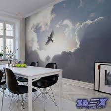 3d Wallpaper Designs For Walls Clouds Dining Room