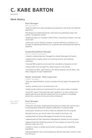 Resume Plant Manager Questions