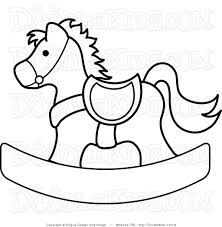 Clip Art Illustration Of A Rocking Horse Coloring Page