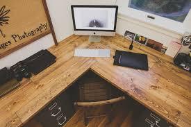 wooden corner desk top have slide out drawer for keyboard
