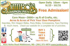 Frederick Maryland Pumpkin Patch by Admission Jumbo U0027s Pumpkin Patch Middletown Md