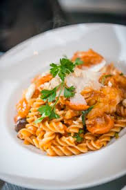 presse cuisine organic rummo pasta with fried shrimp fennel and tomatos at