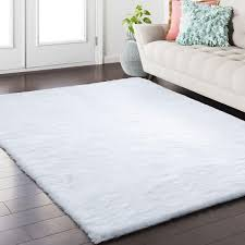 Softlife Fluffy Faux Fur Rug 3 X 5 Soft Area Rugs For Bedroom Girls Room Living Room Home Decor Floor Carpets White Rectangle
