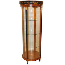 biedermeier style curved glass lighted curio cabinet for