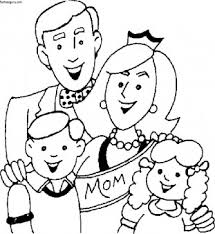 Printable Mothers Day With Happy Family Coloring Page