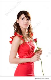gorgeous girl red rose image