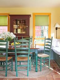 Green Shutters Orange Window Frames Country Style Dining Room Design Turquoise Colors Chairs