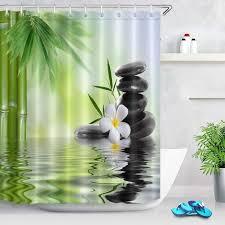 spa duschvorhang mit haken schwarze steine orchideen bambus wasser badvorhang 180w x 200h cm wasserabweisend waschbar anti schimmel polyester