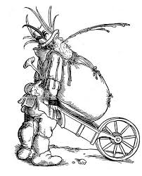 Winebag and wheelbarrow satire on gluttony with a fat peasant facing right spitting and resting his large belly on a wheelbarrow