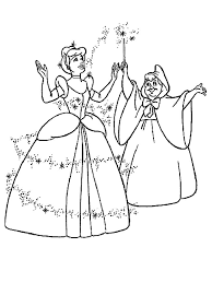 Cinderella And Fairy Godmother Coloring Pages For Kids Printable