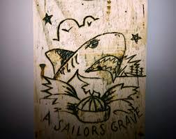 Vintage Bottle Opener Sailor Jerry Tattoo Art Reclaimed Wood Groomsman Valentines