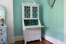 Hampton Bay Glass Cabinet Doors by Custom Order Antique Secretary Desk White Dustressed Turquoise