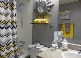 gray and yellow bathroom accessories interior design