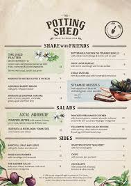 The Potting Shed Bookings by The Potting Shed Menu Menu For The Potting Shed Alexandria