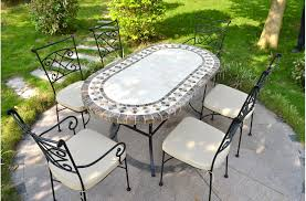 71 94 oval outdoor patio dining table marble mosaic ovali