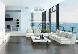 fototapete luxus wohnzimmer interieur mit weißen und meerblickansicht