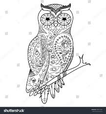 Owl Bird Coloring Book For Adults Vector Illustration Anti Stress Adult