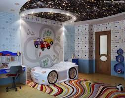 Galaxy Ceiling With White Wall And Quirky Bed In Kids Bedroom