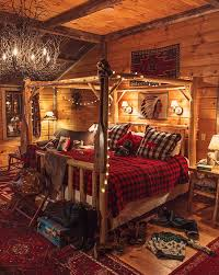 Buffalo Check Bedding White String Lights Twig Chandelier Log Bed All In