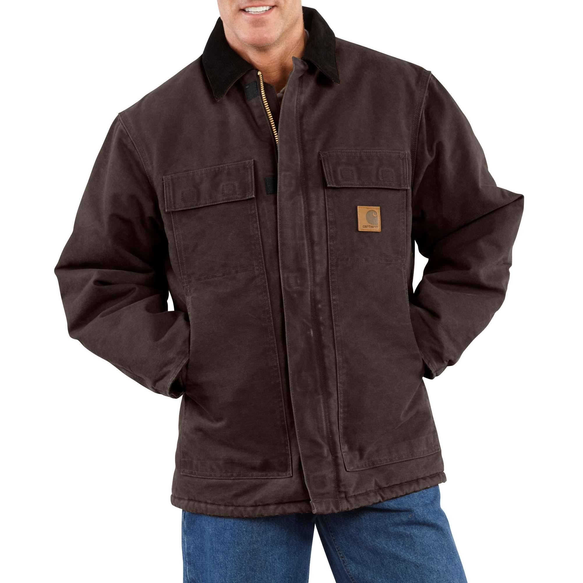 Carhartt Men's Sandstone Traditional Coat - Arctic-Quilt Lined (2XL Dark Brown)