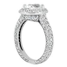 Engagement Ring Vintage Style Oval Diamond Setting Pave Set In 14K White Gold 092 Tcw ES288S