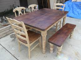 Fetching Rustic Image Of Dining Room Decoration Using Solid Cherry Wood Bench Including Square