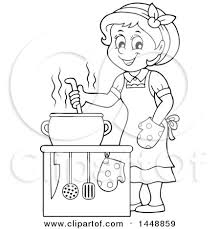 Clipart of a Cartoon Black and White Lineart Happy Housewife Cooking Royalty Free Vector Illustration by visekart