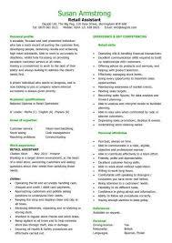 Retail CV Template Sales Environment Assistant Shop Work