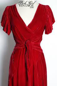 1930s Deco Red Velvet Long Evening Gown Dress