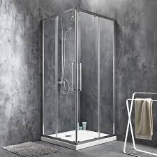 porte de coulissante angle carré 90 x 90 cm transparent