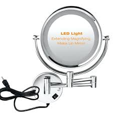 lighted wall mount mirror magnifying mounted stand led makeup