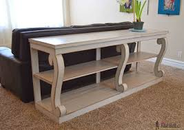 Rustic X Consoles Design Furniture 74inch Width 16inch Diy Console Table Plans Build With Awesome Scroll Legs Definitely Statement Piece Free