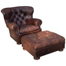 Leather Tufted Chair And Ottoman by Handsome Large Ralph Lauren Button Tufted Club Chair And Ottoman