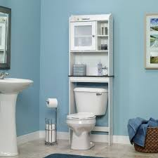 attractive white bathroom wall cabinet with glass doors and