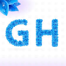 Natural Font Made Of Blue Leaves With Dew Drops Letters G And H