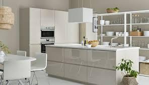 metod küche mit voxtorp hochglanz front beige cremefarben