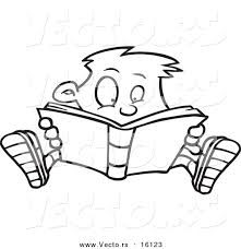 Vector Of A Cartoon Enthralled Boy Reading Book