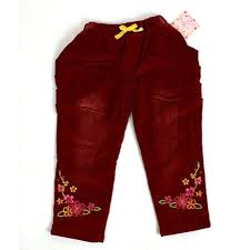 Childrens Pants Girls Trousers Kid Clothings Flowers Embroidery On Red Corduroy Baby Free Shipping
