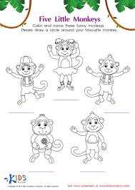 Blockhead Coloring Book Lyrics Five Little Monkeys Pages And