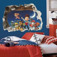 3D Cartoon Paw Patrol Snow Slide Wall Stickers For Kids Rooms Home Decor Children Room