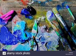 Pallet Knife And Brushes On An Artists
