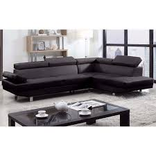 Gray Sectional Sofa Walmart by 2 Piece Modern Bonded Leather Right Facing Chaise Sectional Sofa
