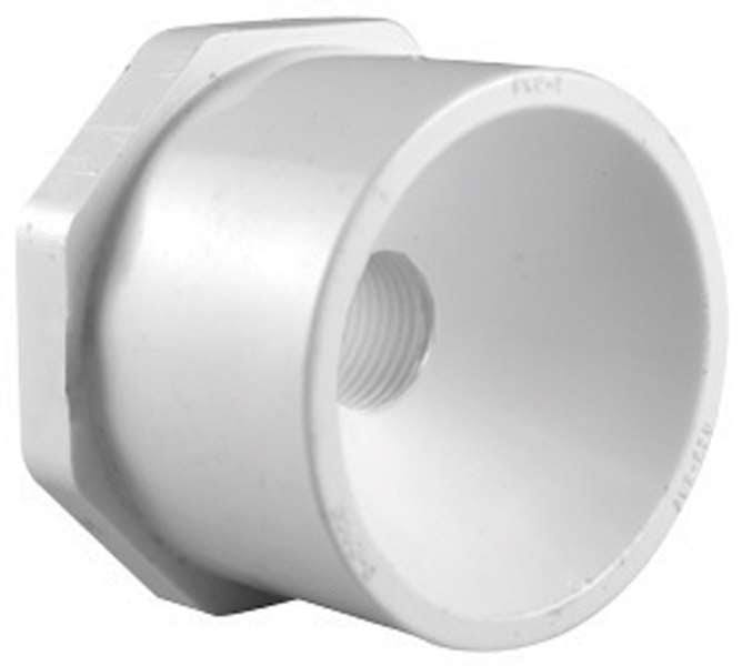 "Charlotte Pipe PVC Reducing Bushing - 3/4"" X 1/2"", White"