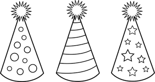 Black And White Party Hats To Color