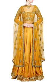 lehengas mustard raw silk embroidered lehenga