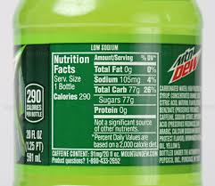 Nutrition Facts For Soda Pop Soft Drink