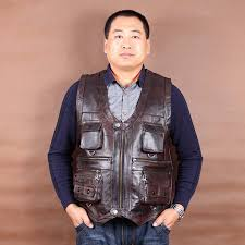 popular brown leather vests for men buy cheap brown leather vests